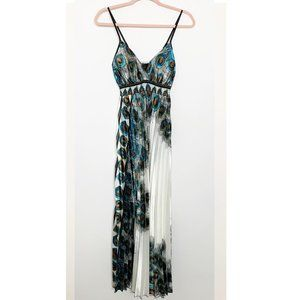 NWT Pleated Peacock Maxi Dress #4248